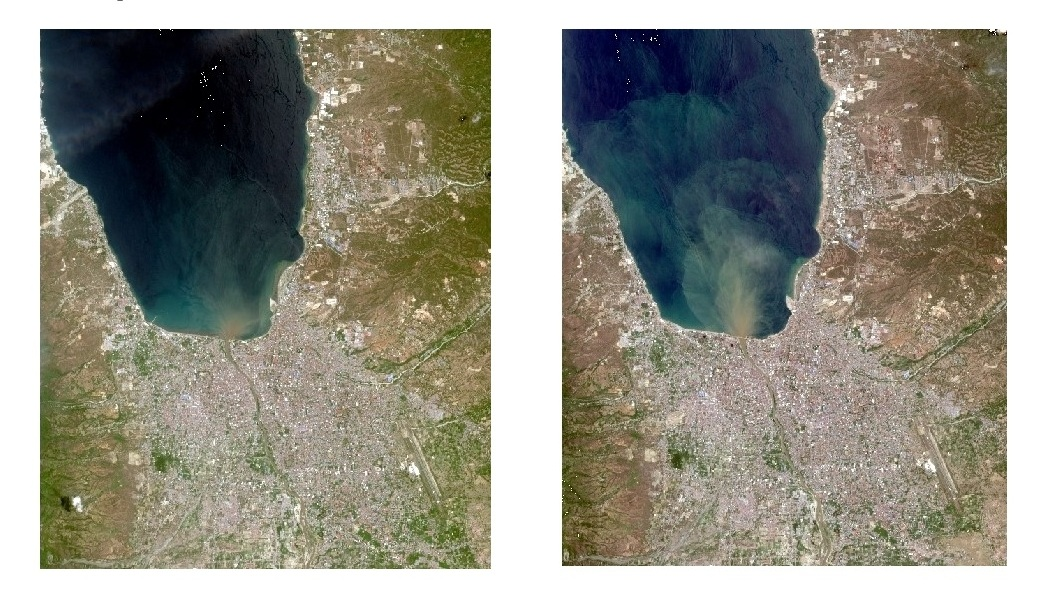 September (left) and October (right) satellite imageries.