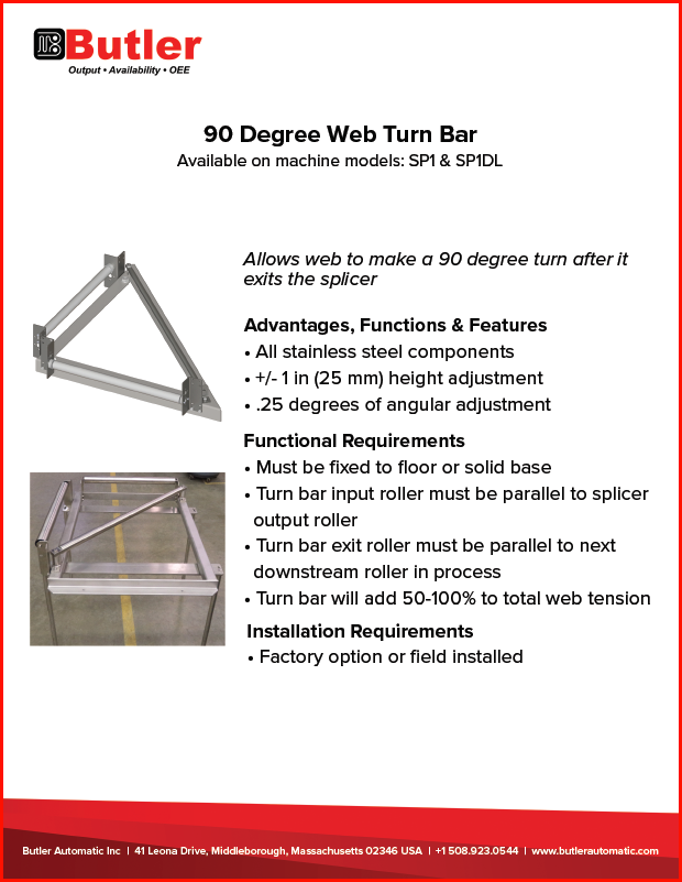 Butler Automatic 90 Degree Web Turn Bar