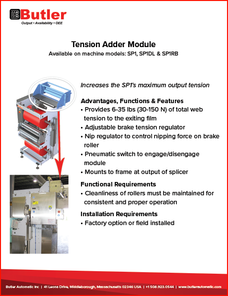 Tension Added Module Automatic Splicer Butler Automatic