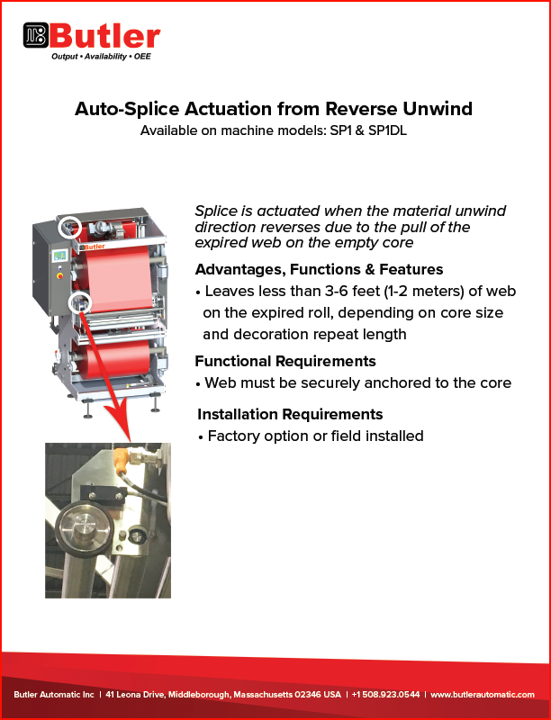 Butler Automatic Reverse Unwind Automatic Roll Splicing