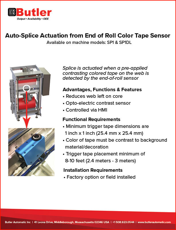 Butler Automatic End of Roll Color Tape Sensor Automatic Roll Splicer