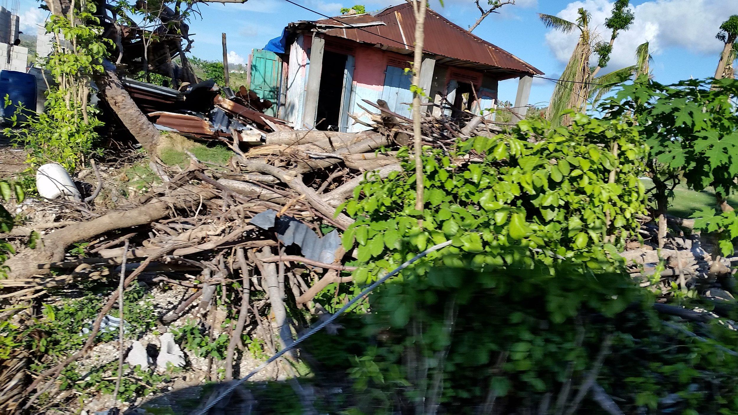Damaged houses, debris everywhere, power lines down.