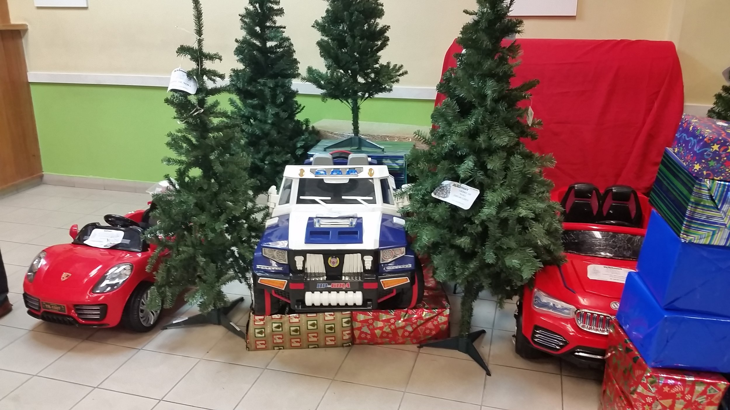 A little Christmas display at the local grocery store (the Police truck was $285 U.S.)