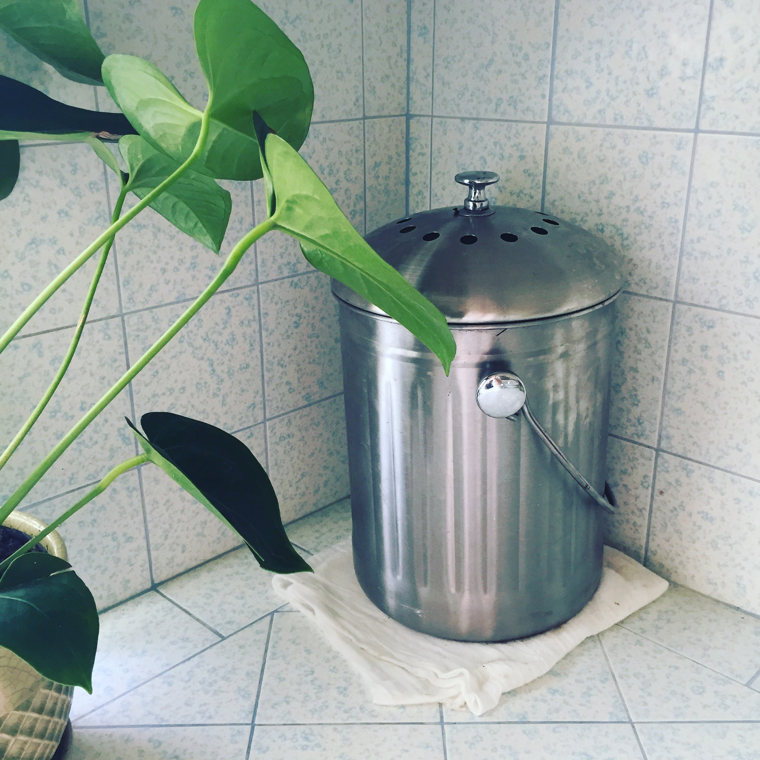 My stainless steel compost bucket.