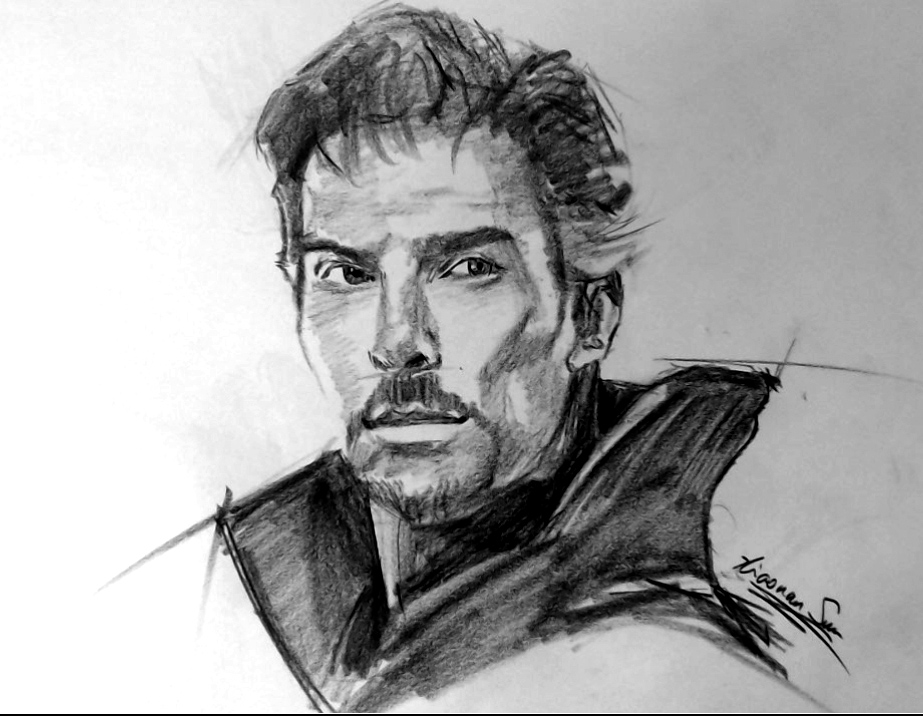 """Dr Strange - Sold - charcoal on newsprint - about 16""""x20"""""""
