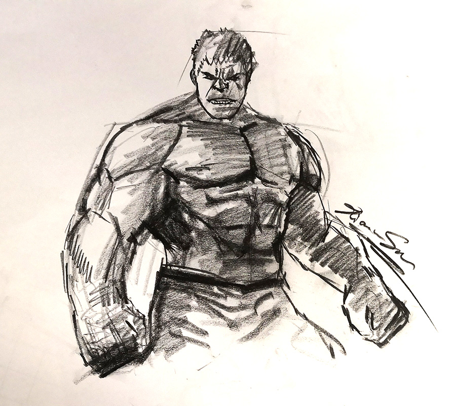 "Hulk - Sold - Charcoal on newsprint 16""x16"""