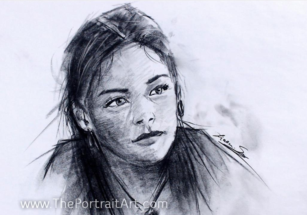 "Girl Study - Sold - newsprint about 16""x20"""