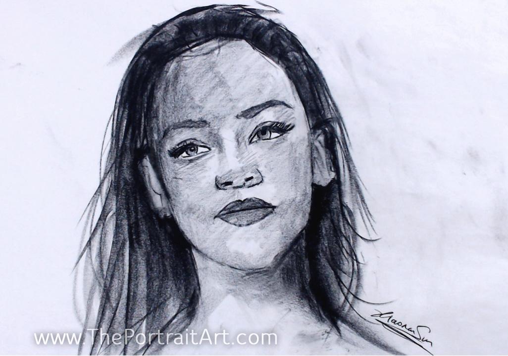 "Rihanna Sketch - Sold - charcoal on newsprint 16""x20"""