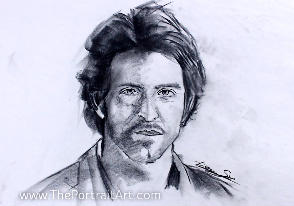 Hrithik Roshan Sketch - Sold - charcoal on newsprint