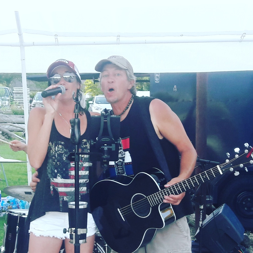 Chrissy Karl and Kris Hachmeister of CK and The Gray performs at Freddie's West End in Lake Como, WI