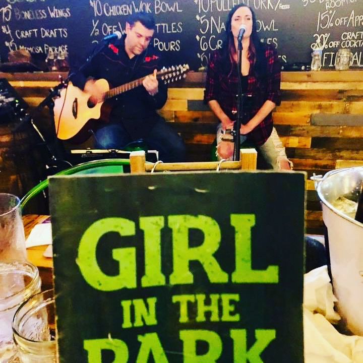 Neal Rudnik and Chrissy Karl at Girl In The Park in Orland Park.  Neal is working the kinks out on his newly acquired 12 string guitar…