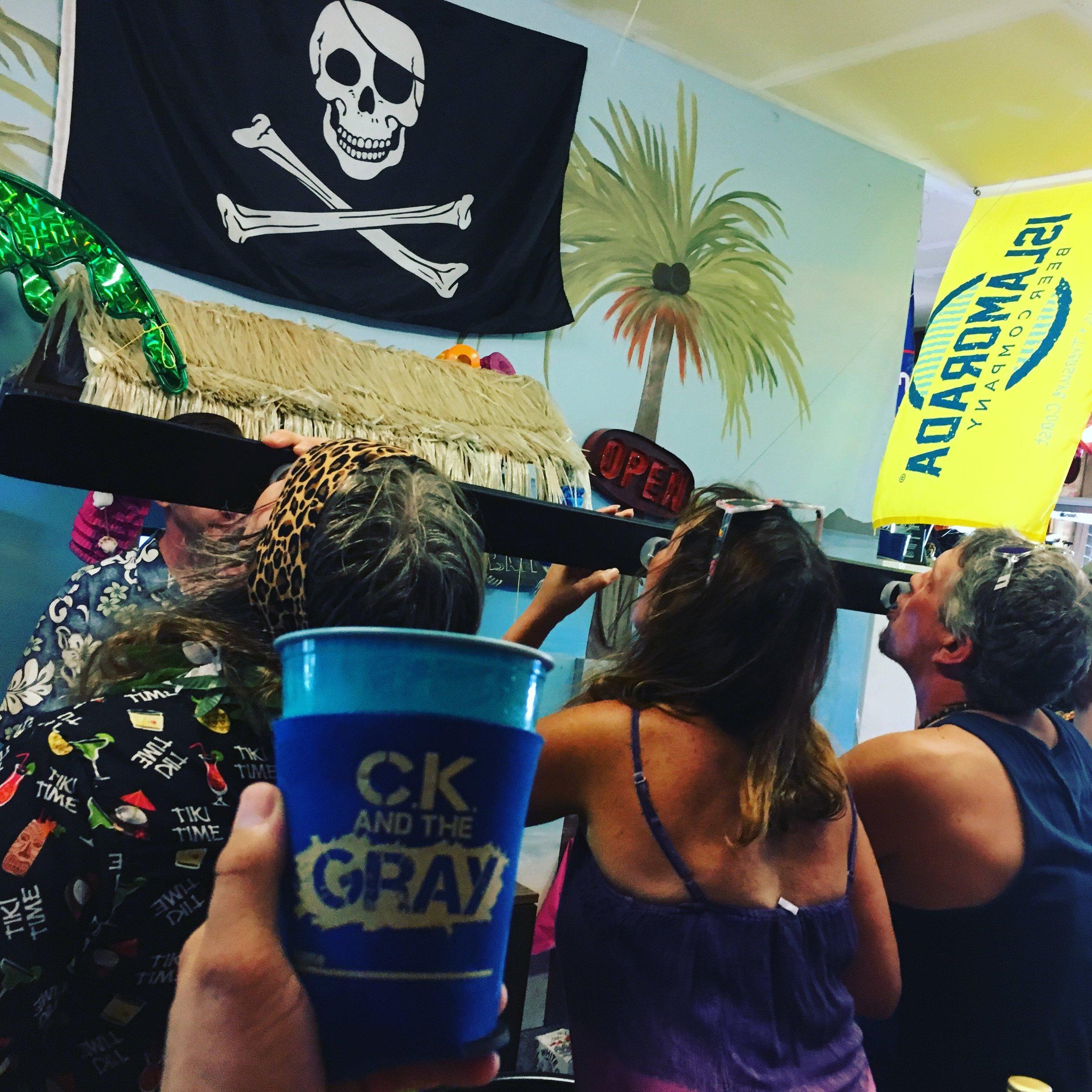 Inaugural first shot of the Shotski at Taki Tiki Party #ckcancooler