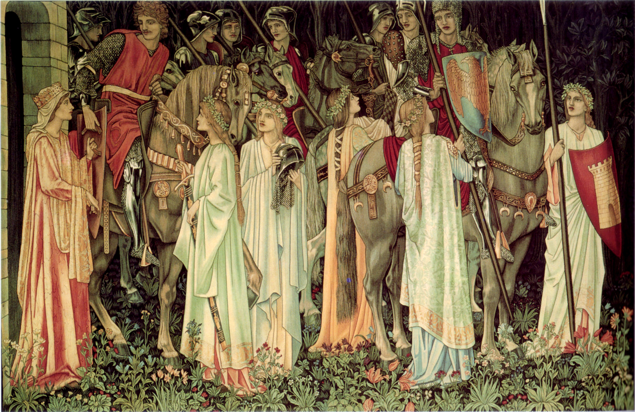 """""""The Arming and Departure of the Knights,"""" a tapestry commissioned by William Knox D'Arcy from William Morris and Co. (1890)"""