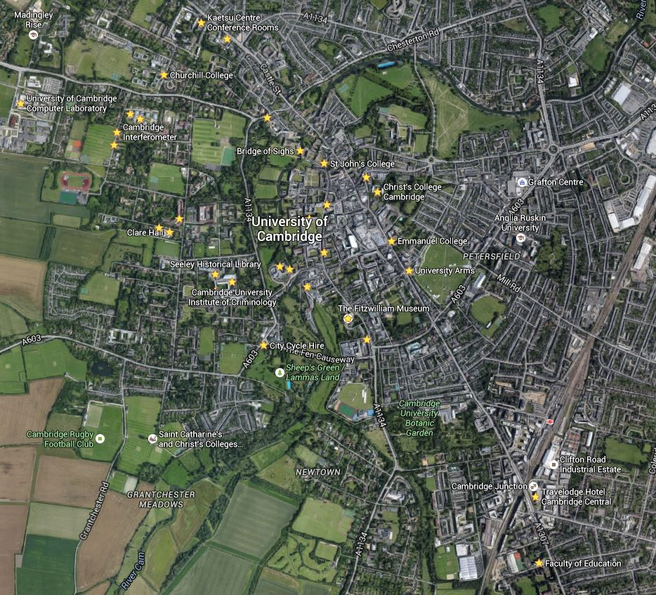 Places I wanted to Visit in Cambridge for the day not as advanced as Adrian's map log