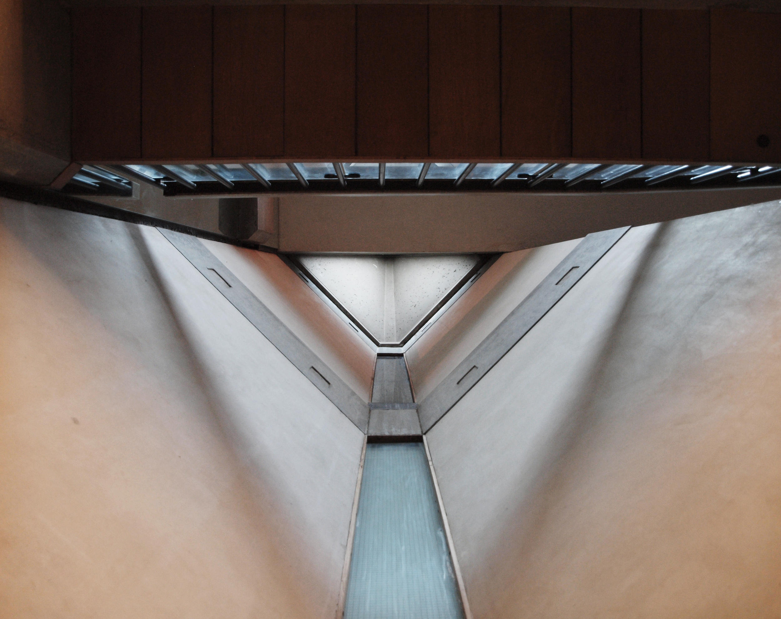 Looking up the gaps in the staircase