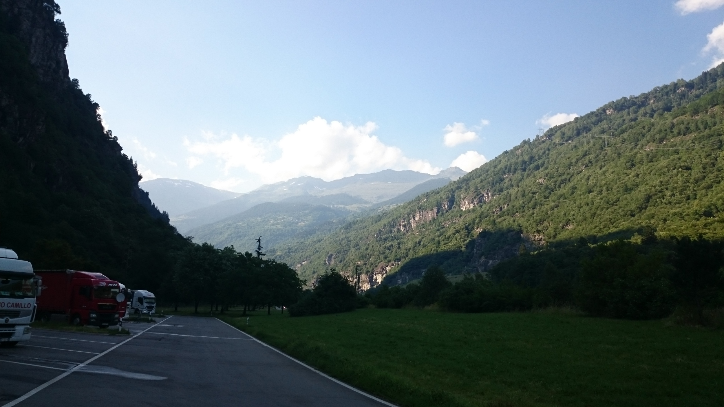 That afternoon we took a bus to milan! This picture was taken during the bus urinal break view of the lower parts of the alps