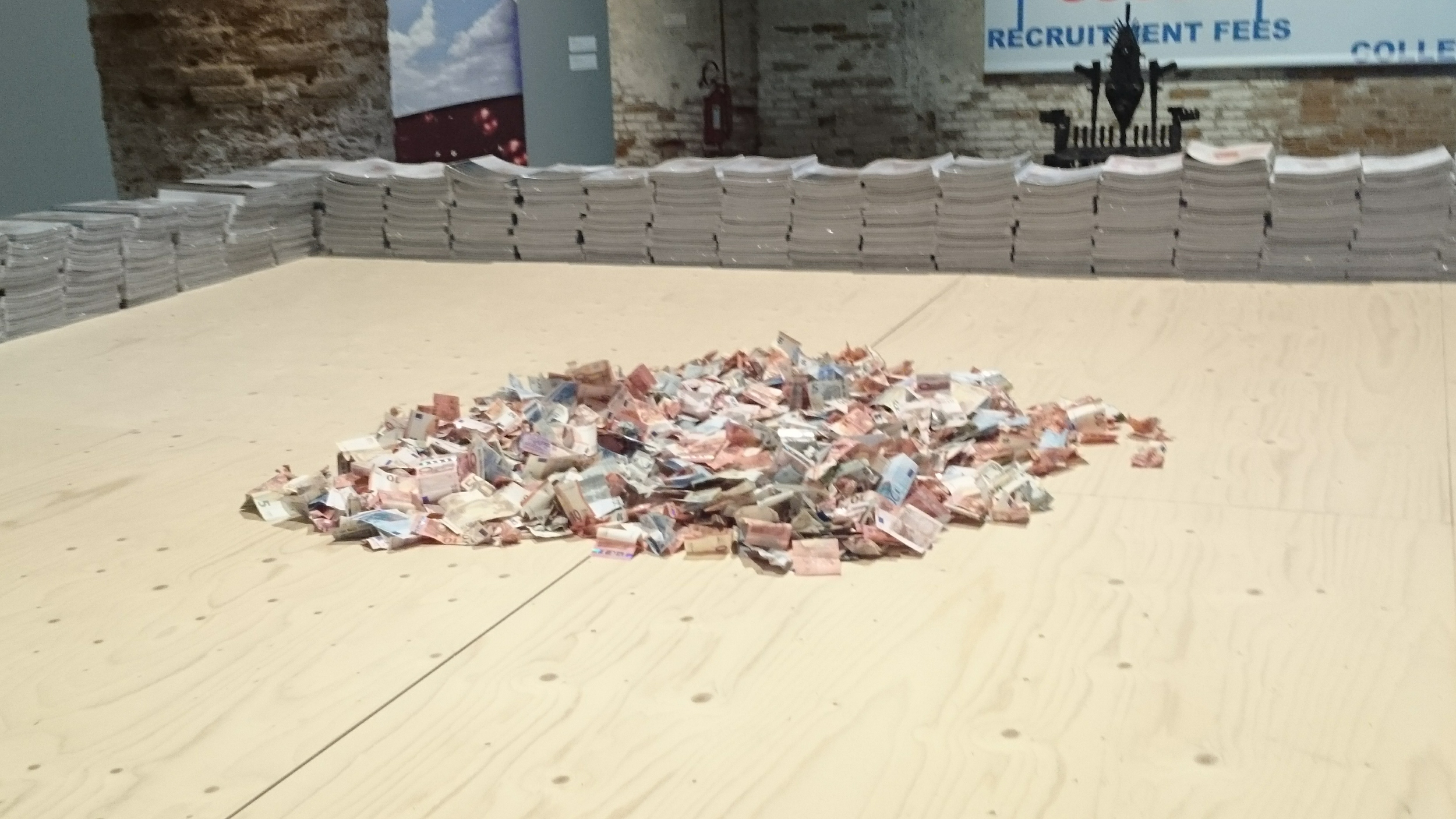 pile of unreachable money in different currencies