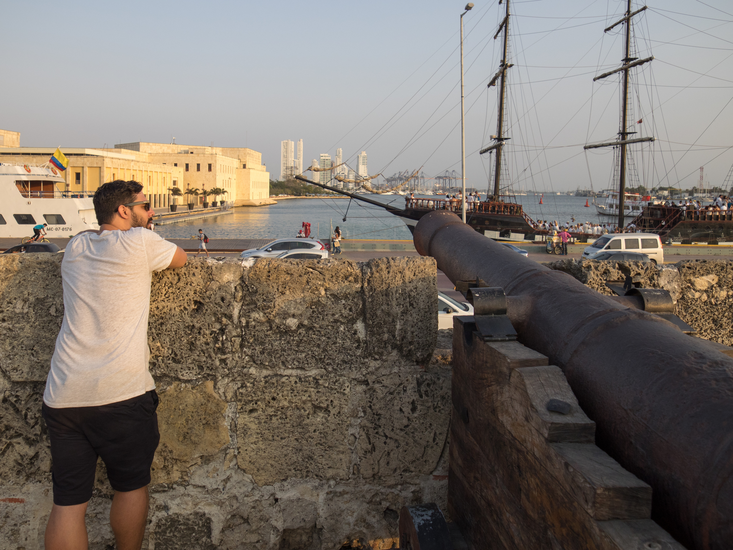 Cannons on the old wall of Cartagena