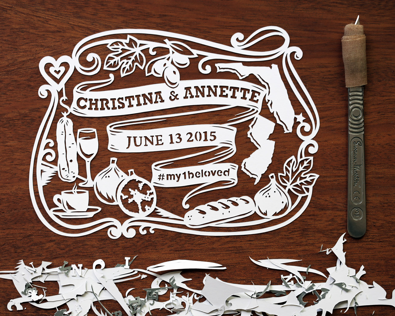 papercut illustration for anniversary, food and wine