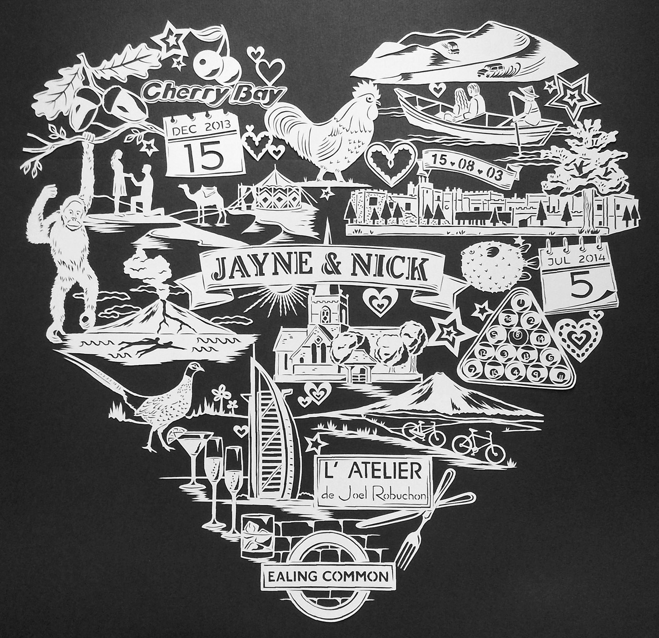 papercut illustration for anniversary, large heart