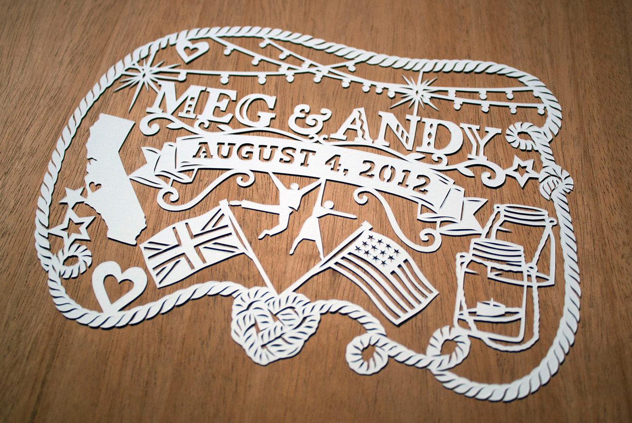 papercut illustration for anniversary, England and America