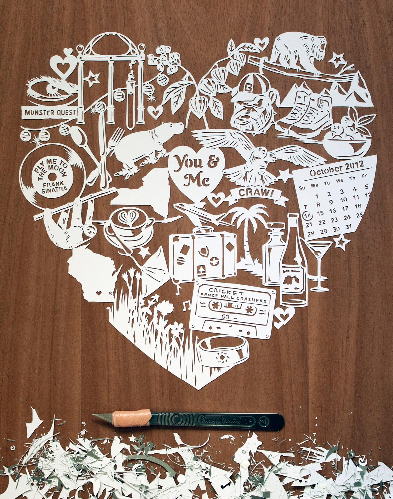 papercut illustration for anniversary, love heart romance