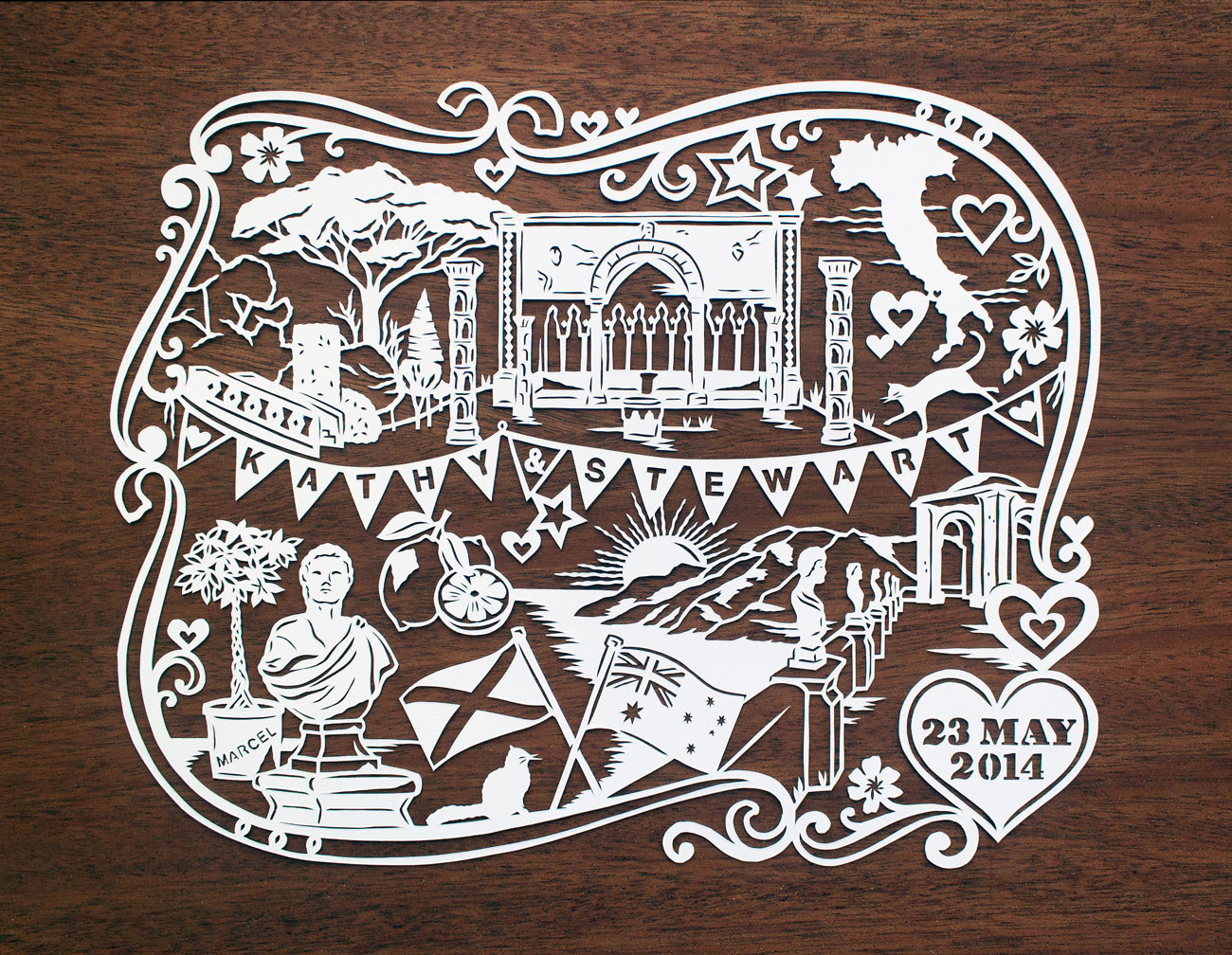 papercut illustration for anniversary, love Italy