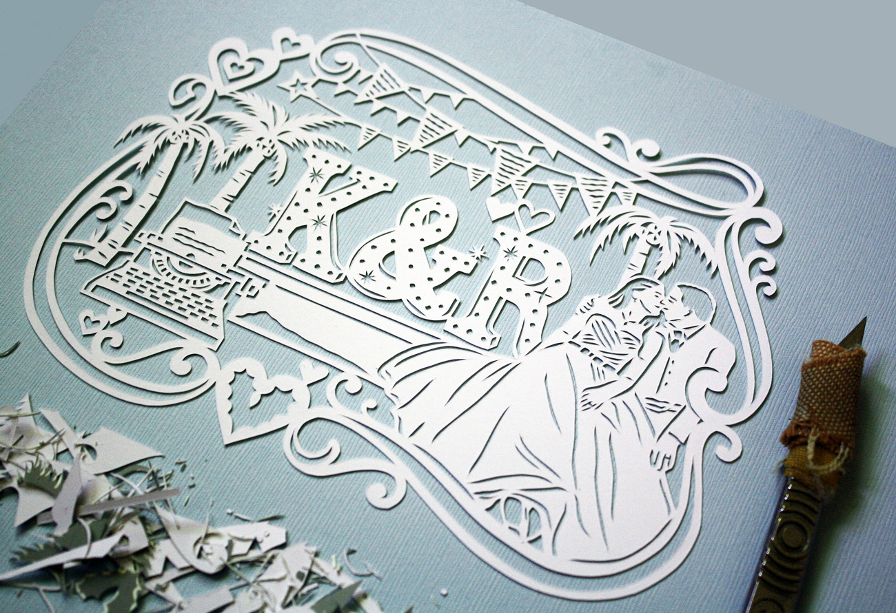 papercut illustration for anniversary, blue love