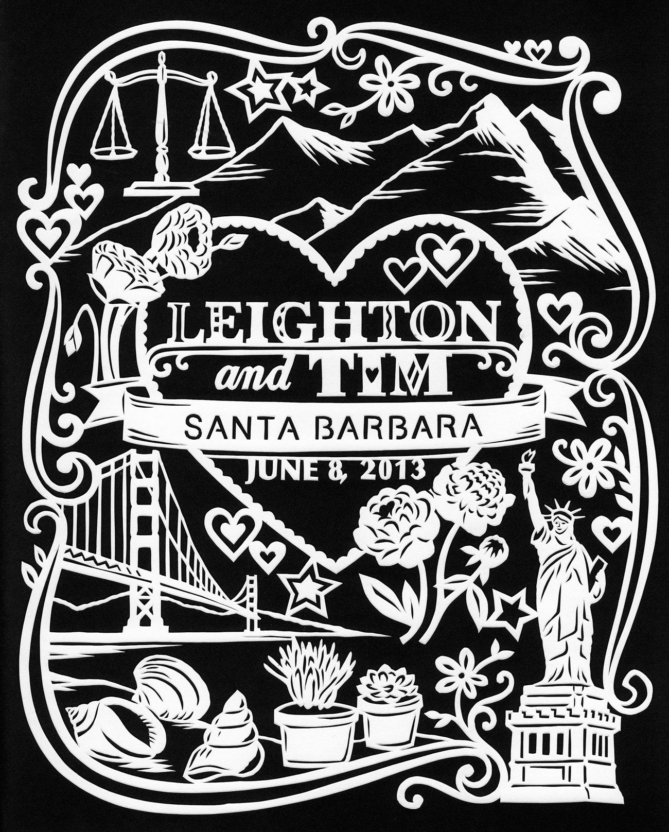 papercut illustration for anniversary, California America