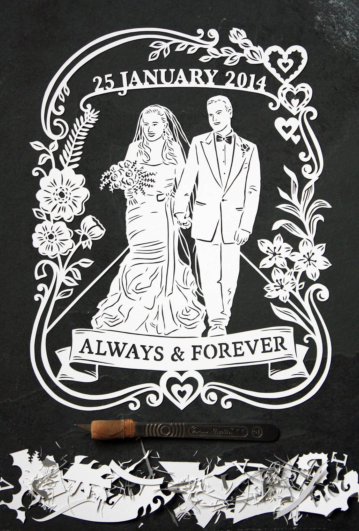 papercut illustration for anniversary, couple married love