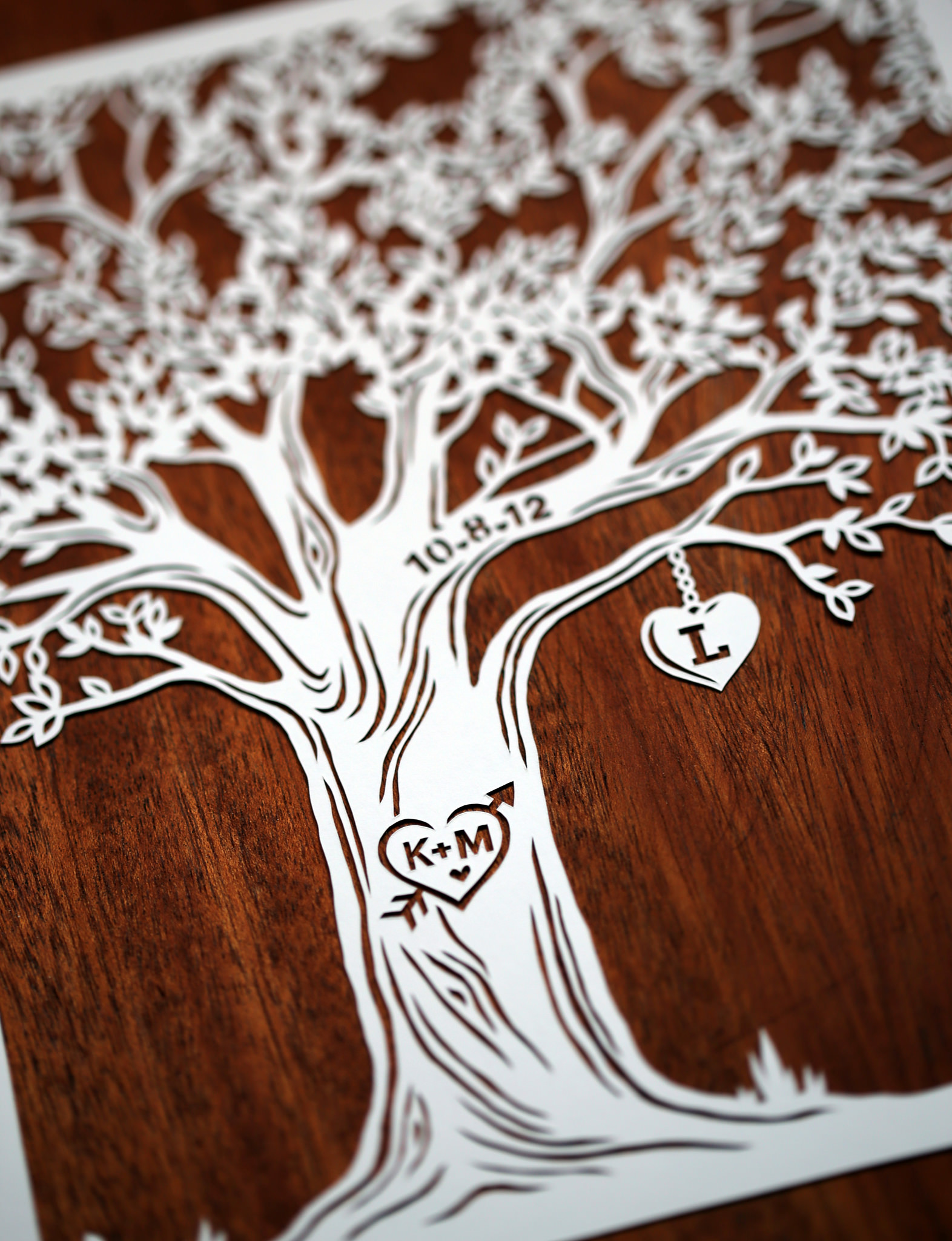 papercut illustration for anniversary, tree heart