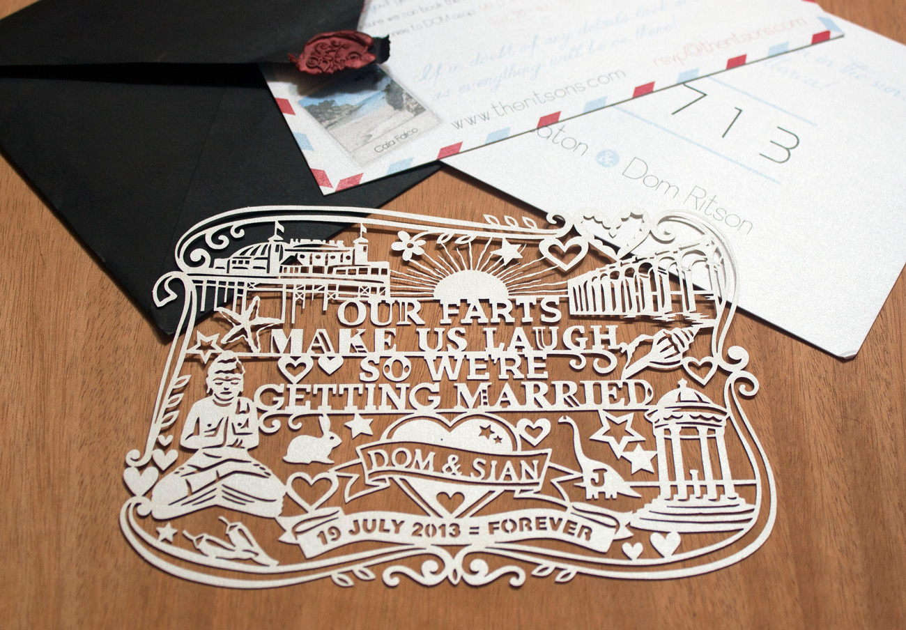 customized papercut wedding invite