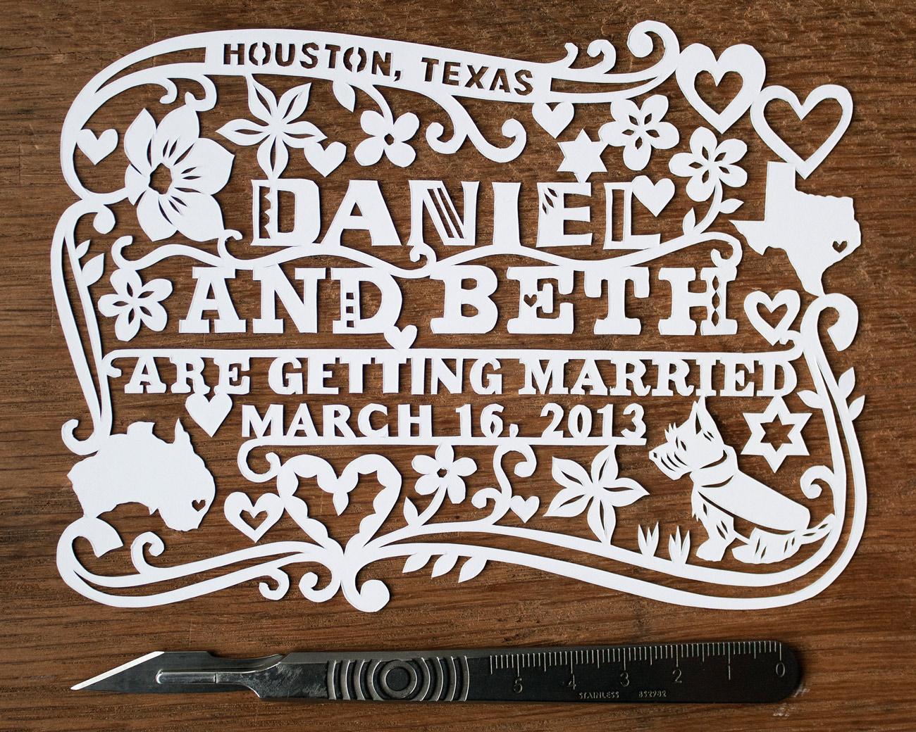 customized beautiful papercut save the date