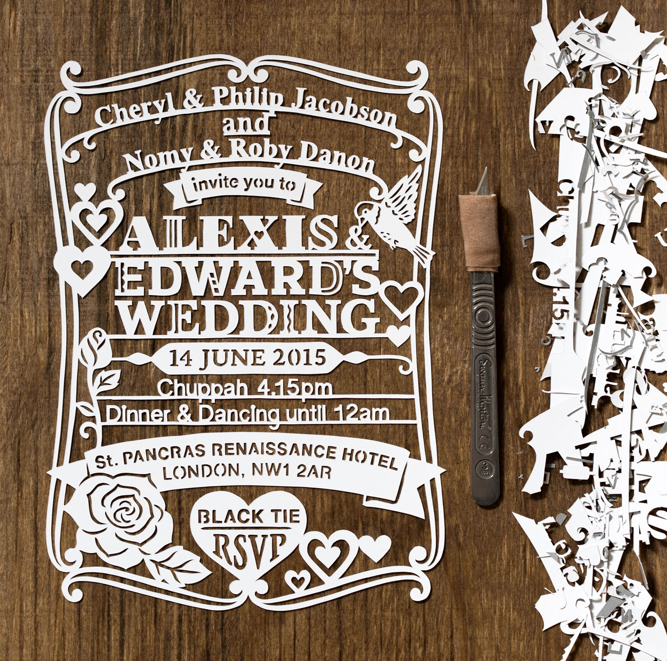 customized papercut wedding invite intricate