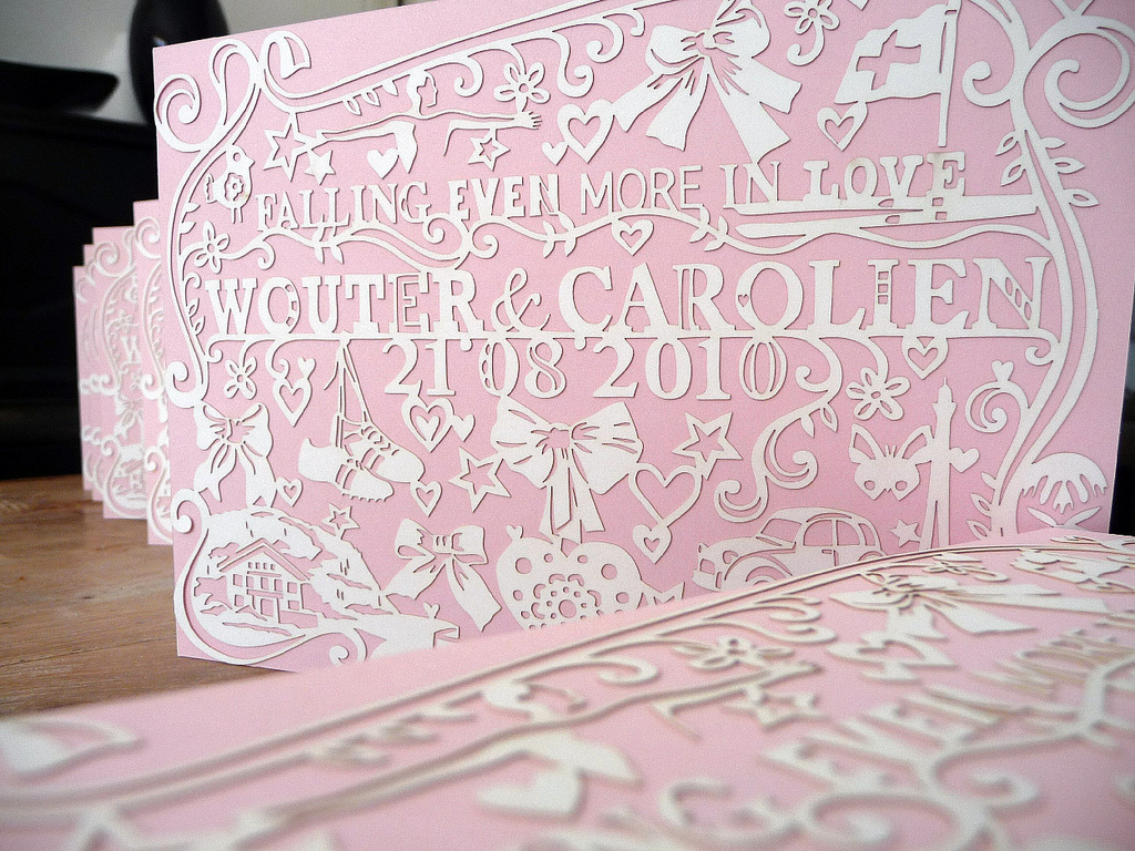 pink customized papercut wedding invite lasercut