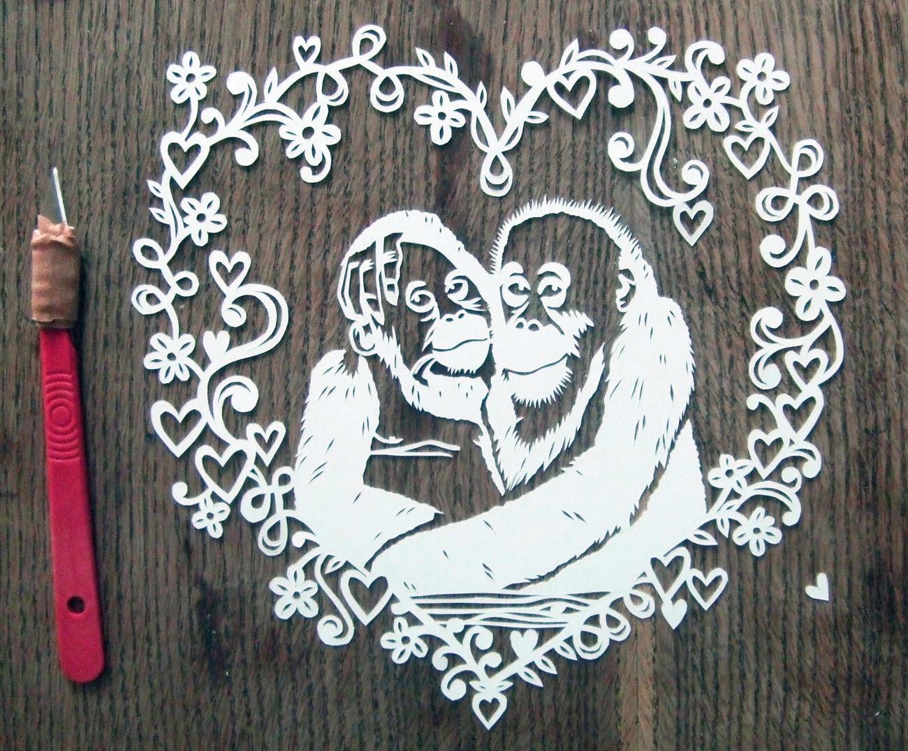 papercut portrait illustration of two monkeys love