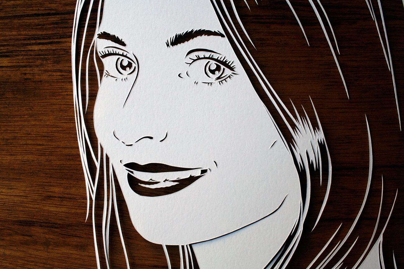 papercut portrait illustration of a beautiful woman eyes