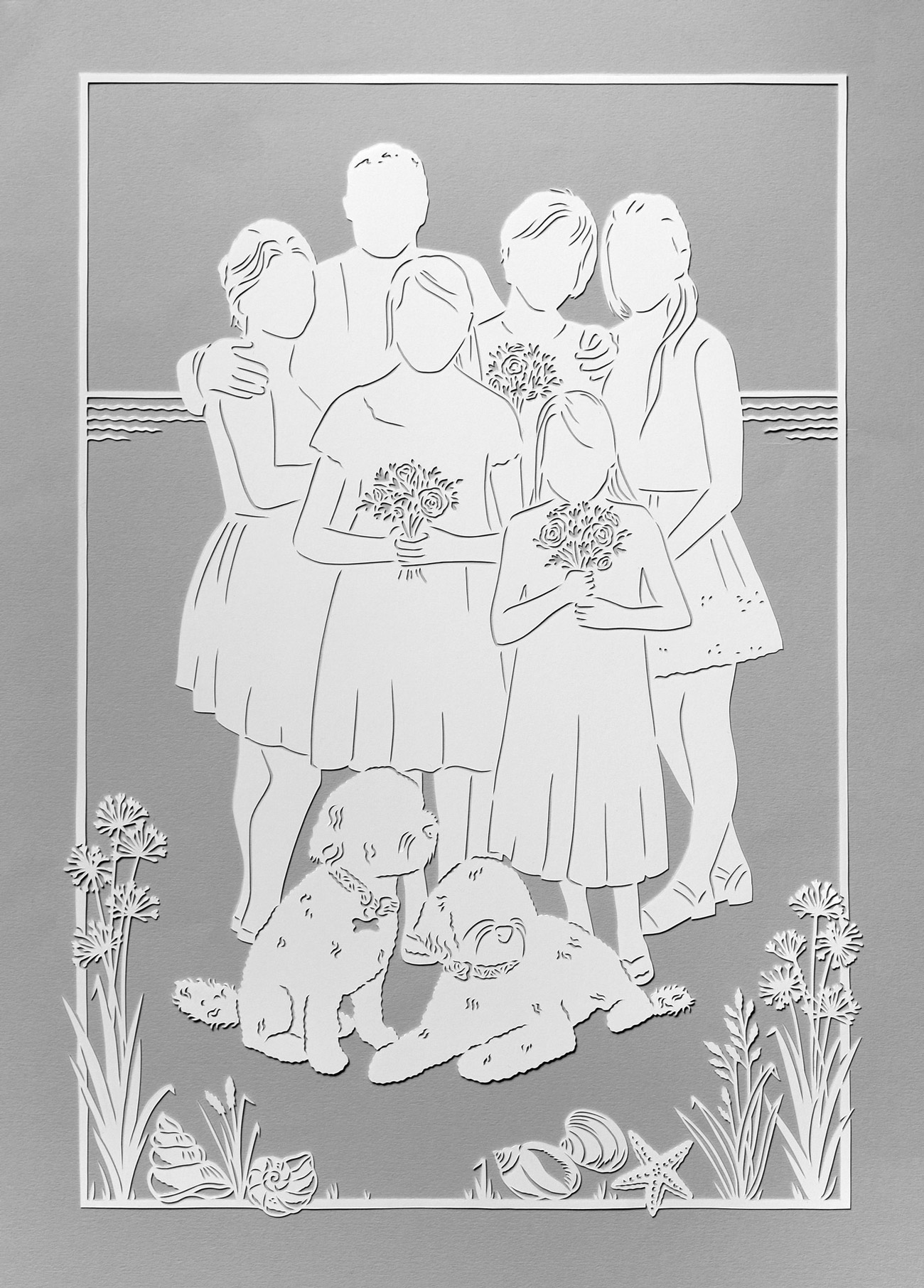 papercut portrait illustration of a beautiful family and dogs