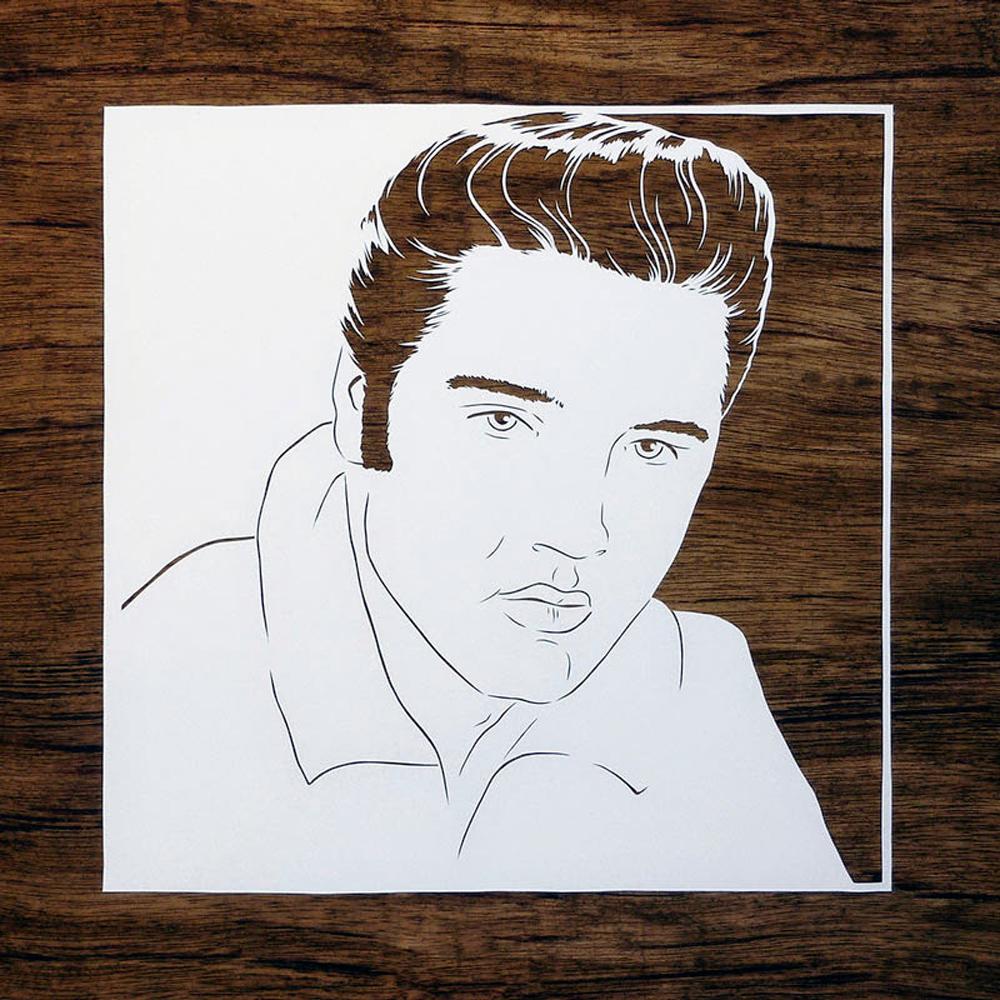 papercut portrait illustration of Elvis