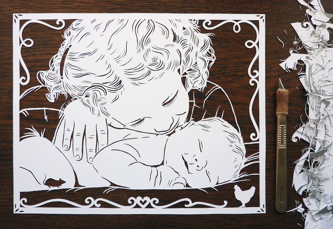 papercut portrait illustration of little girl and baby