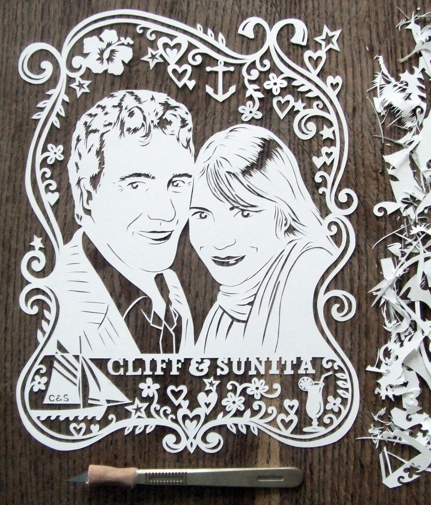 papercut portrait illustration of two people
