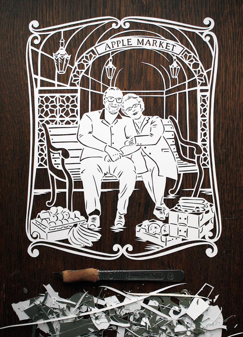 papercut portrait illustration married couple
