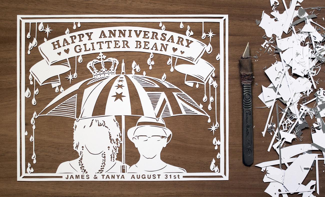 papercut portrait illustration of happy couple under umbrella
