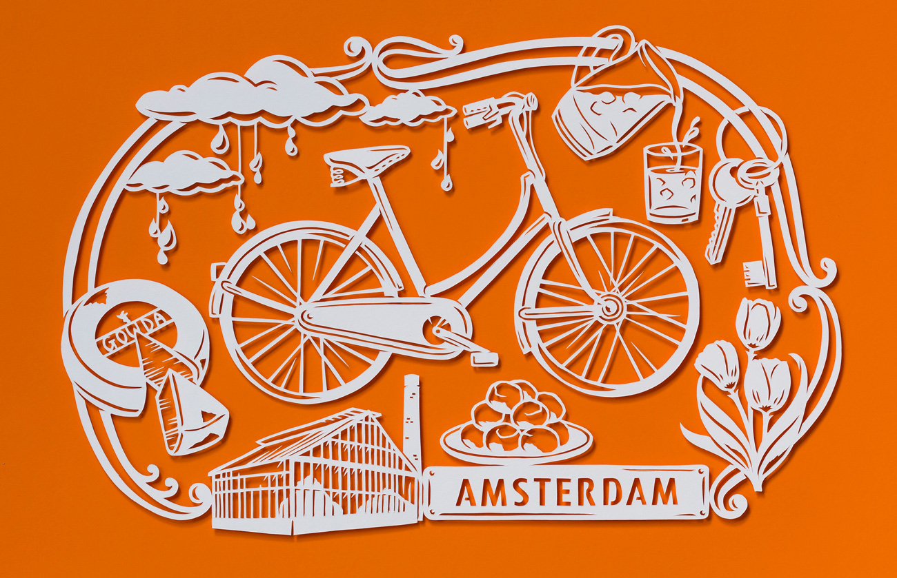 orange papercut illustration of amsterdam with bike and cheese