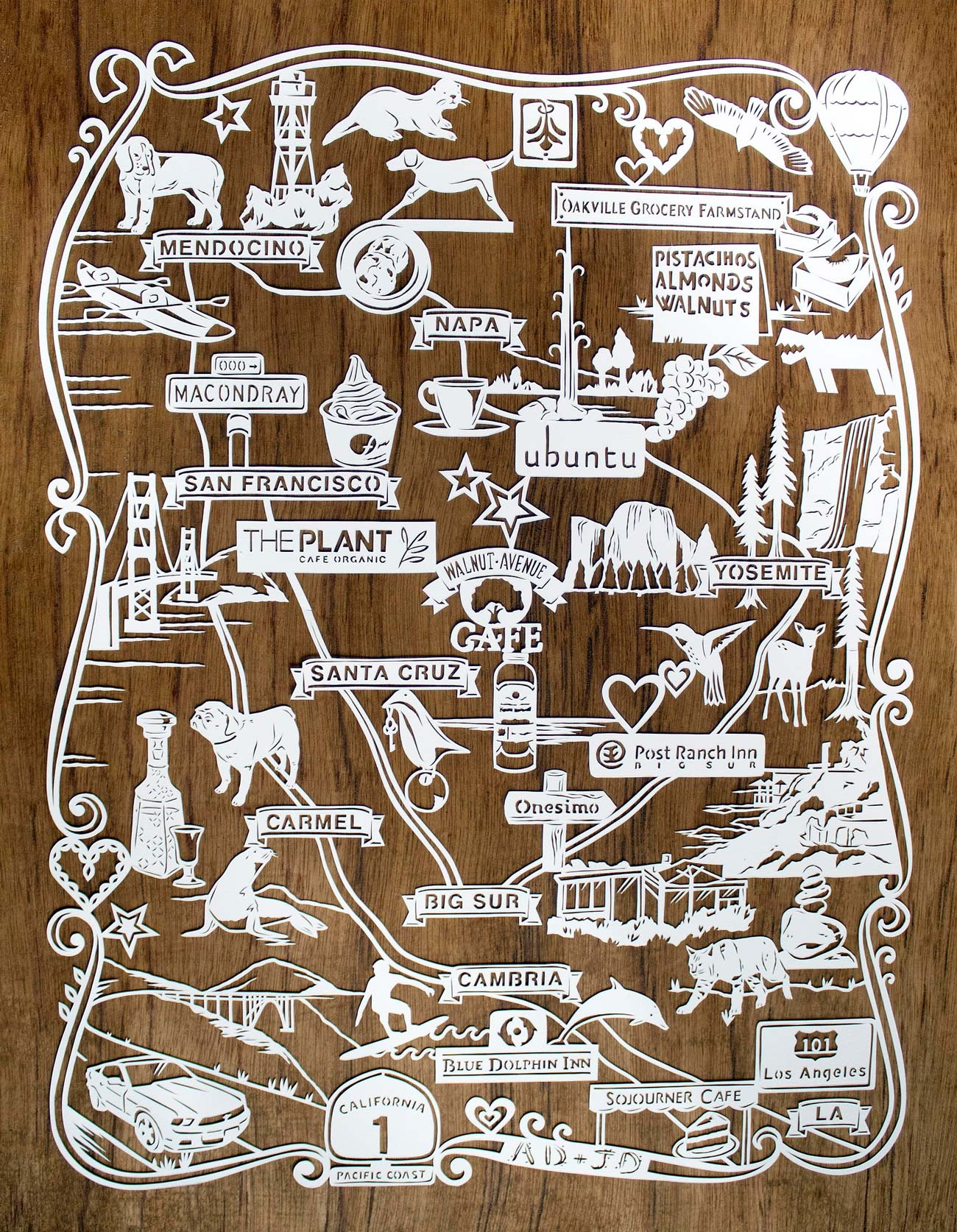 papercut illustration of honeymoon trip in america