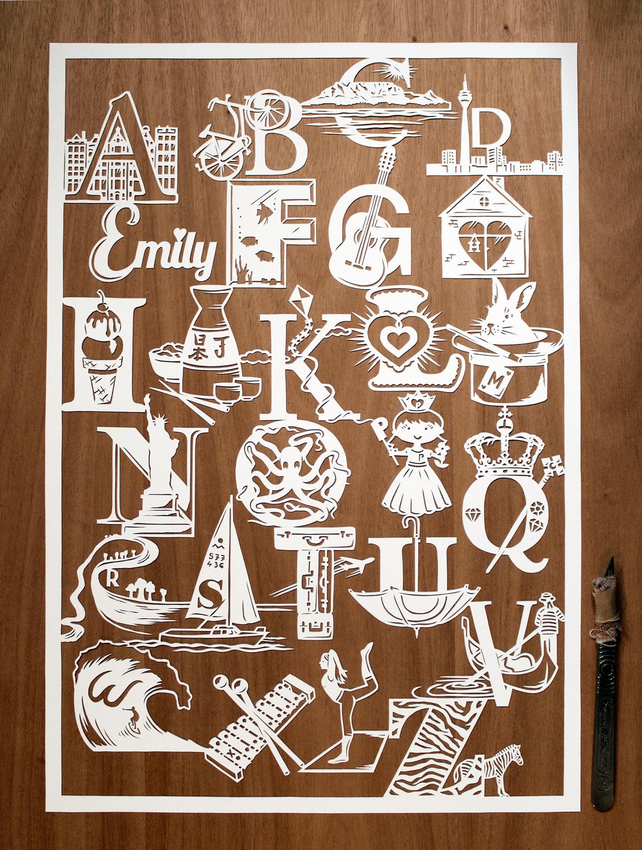 papercut illustration of alphabet love story intricate