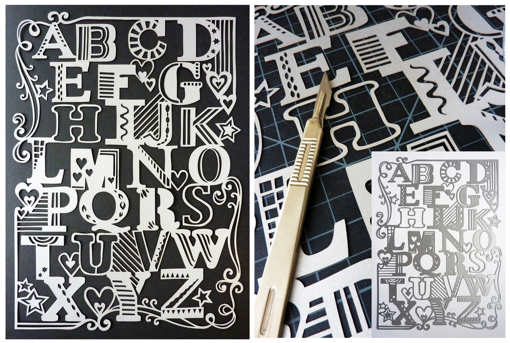 papercut illustration of graphic alphabet in silver