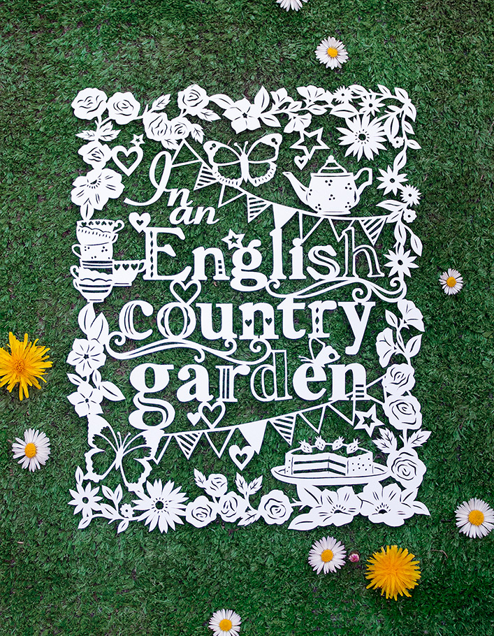 english country garden papercut illustration with daisies and teacups