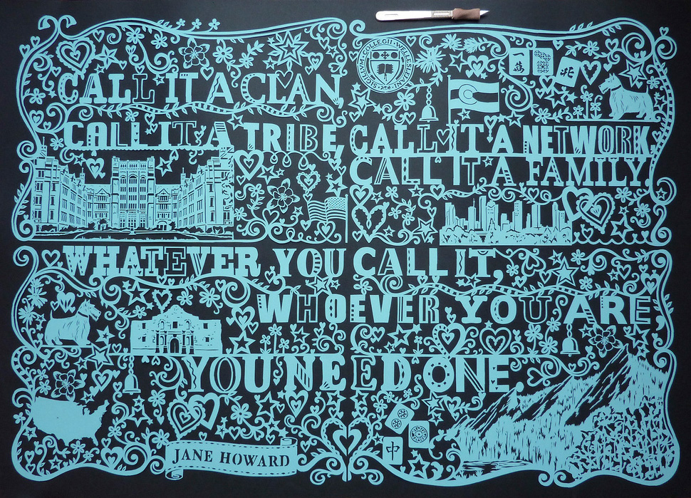 huge turquoise papercut illustration about america