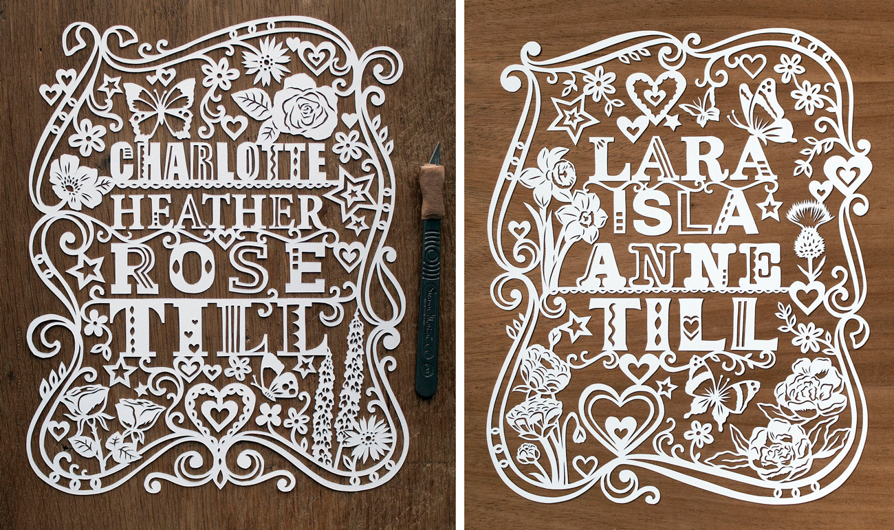 commission papercut illustration for new babies